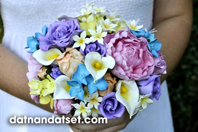 hoa cưới làm bằng đất sét nhật thái học làm hoa đất